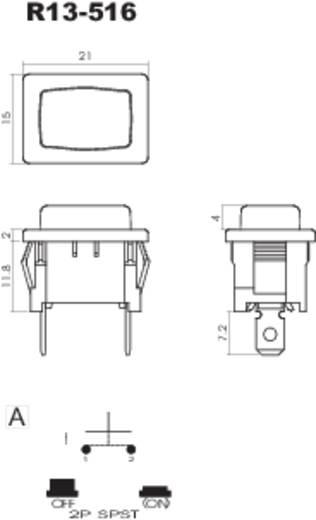 Nyomógomb 250 V/AC 6 A, 1 x ki/(be), fekete, SCI R13-516A-02