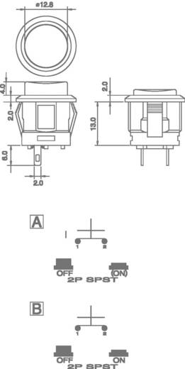 Nyomógomb 250 V/AC 1,5 A, 1 x ki/(be), piros, SCI R13-523AL-05RT