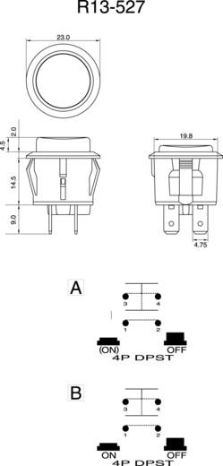 Nyomógomb 250 V/AC 6 A, 1 x ki/(be), fekete, SCI R13-527A-02BK