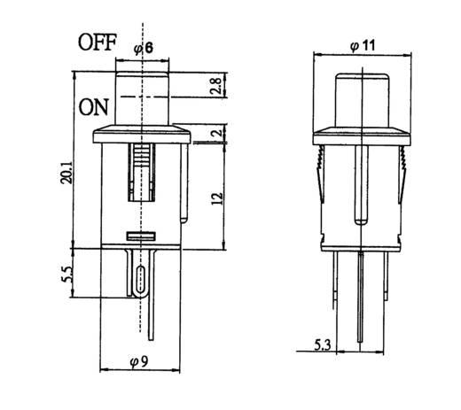 Nyomógomb 250 V/AC 0,5 A, 1 x ki/(be), sárga, SCI R13-529ALYL