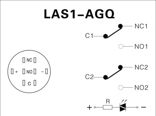 Vandálbiztos nyomókapcsoló körvilágítással, 19 mm, 250 V/AC 5A, piros, LAS1-AGQ-22ZE, Red