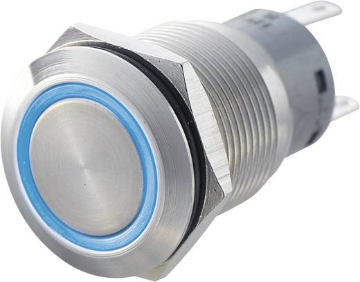 Vandálbiztos nyomógomb kör világítással, zöld, 19 mm, 250V/AC, 5A, LAS1-AGQ-22E, GREEN