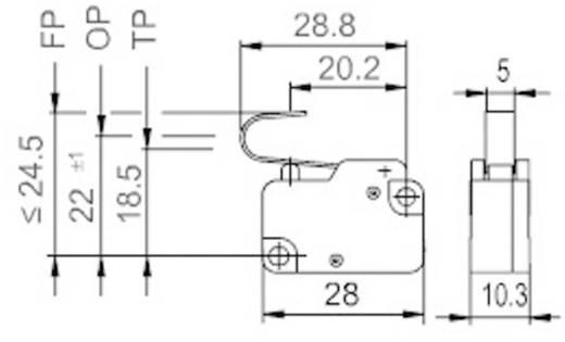 Mikrokapcsoló 250 V/AC 10 A, 1 x be/(be), Marquardt 1006.1801