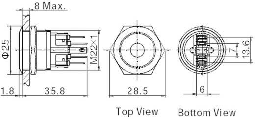 Vandálbiztos nyomógomb kör világítással, zöld, 22 mm, 250V/AC, 5A, GQ22-11E/G/12V