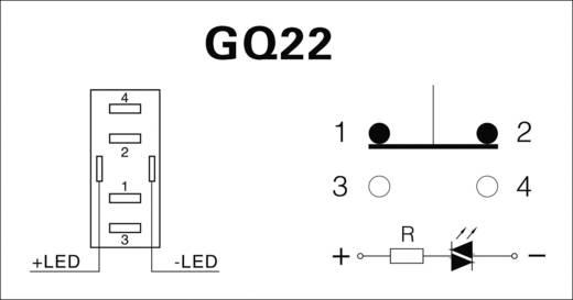 Vandálbiztos nyomógomb kör világítással, piros, 22 mm, 250V/AC, 5A, GQ22-11E/R/12V