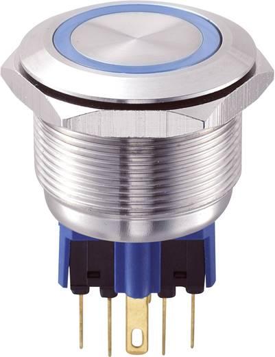 Vandálbiztos nyomógomb kör világítással, kék, 25 mm, 250V/AC, 5A, GQ25-11E/B/12V