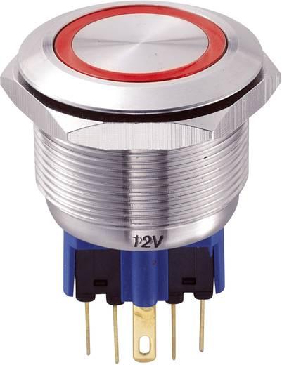 Vandálbiztos nyomógomb kör világítással, piros, 25 mm, 250V/AC, 5A, GQ25-11E/R/12V