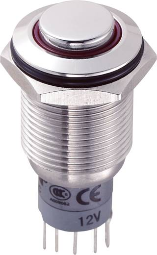 Vandálbiztos nyomókapcsoló körvilágítással, 16 mm, 250 V/AC 3A, piros, LAS2GQH-11ZE/R/12V/S/P