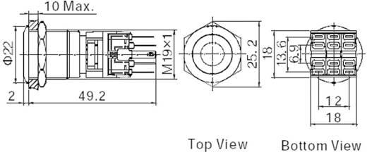 Vandálbiztos nyomógomb kör világítással, piros, 19 mm, 250V/AC, 5A, LAS1-BGQ-11E/R/12V