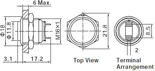 Vandálbiztos nyomógomb, 1xki/(be), 16 mm, 36V/DC, 2A, GQ16H-10E/J/S