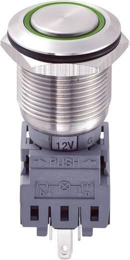 Vandálbiztos nyomógomb kör világítással, zöld, 19 mm, 250V/AC, 5A, LAS1-BGQ-11E/G/12V
