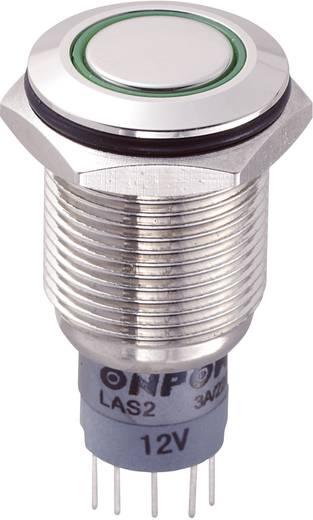Vandálbiztos nyomógomb kör világítással, zöld, 16 mm, 250V/AC, 3A, LAS2GQF-11E/G/12V/N/P