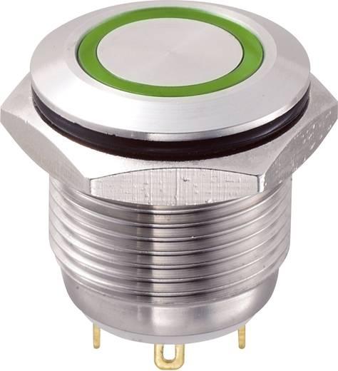 Vandálbiztos nyomógomb kör világítással, zöld, 16 mm, 48V/DC, 2A, GQ16F-10E/J/G/12V