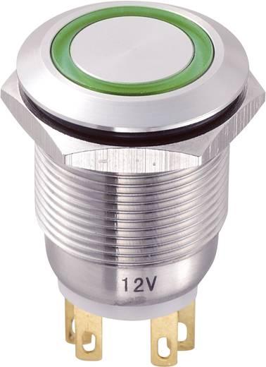 Vandálbiztos nyomógomb kör világítással, zöld, 19 mm, 250V/AC, 5A, LAS1-GQ-11E/G/12V