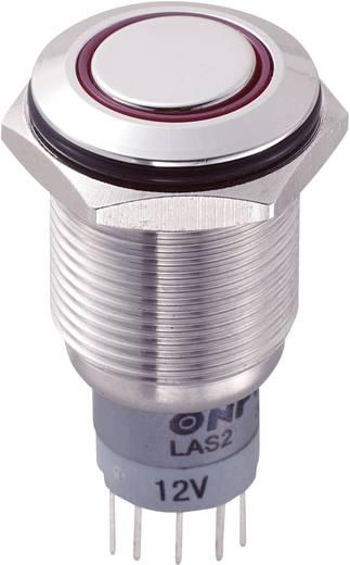 Vandálbiztos nyomókapcsoló körvilágítással, 16 mm, 250 V/AC 3A, piros, LAS2GQF-22ZE/R/12V/S/P