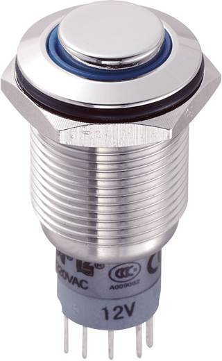 Vandálbiztos nyomógomb kör világítással, kék, 16 mm, 250V/AC, 3A, LAS2GQH-11E/B/12V/S/P