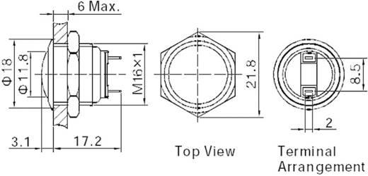Vandálbiztos nyomógomb, 1xki/(be), 16 mm, 250V/AC, 2A, GQ16B-10/J/N