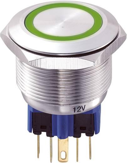Vandálbiztos nyomógomb kör világítással, zöld, 25 mm, 250V/AC, 5A, GQ25-11E/G/12V