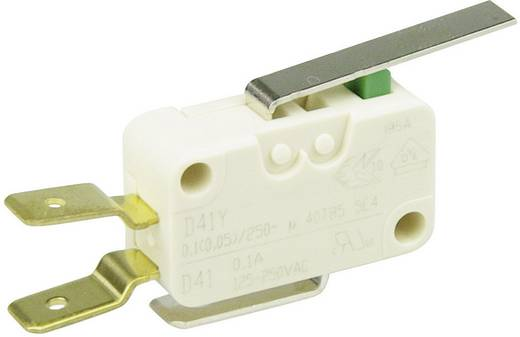 Cherry miniatűr karos mikrokapcsoló, 250V/AC, 1 váltó, csúszósarus, D413-V3LD