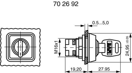 Kulcsos kapcsoló, reteszelhető, 1 x 90 °, RAFI 1.30076.001