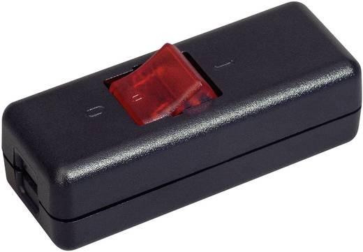 interBär világítós 2 pólusú zsinórkapcsoló, 10A 250 V/AC, fekete (piros)