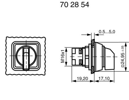 Választókapcsoló, reteszelhető, 2 x 40 °, fekete, RAFI 1.30073.650