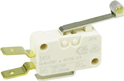 Cherry miniatűr karos mikrokapcsoló, 250V/AC, 1 váltó, csúszósarus, D45U-V3RD