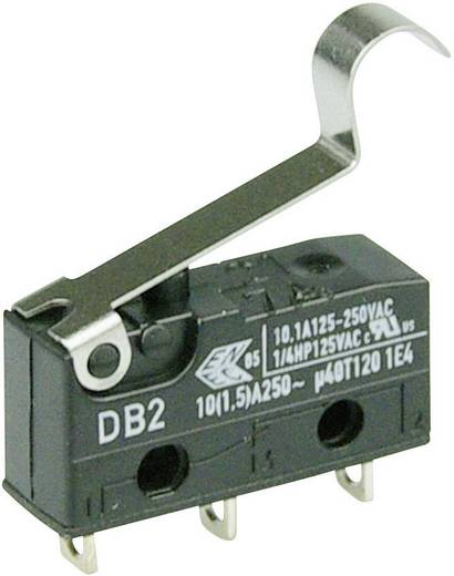 Cherry szubminiatűr karos mikrokapcsoló, 250V/AC, 1 váltó, forrasztós, DB2C-A1SC