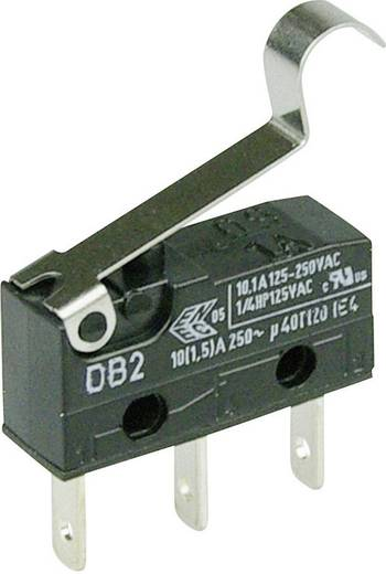 Cherry szubminiatűr karos mikrokapcsoló, 250V/AC, 1 váltó, csúszósarus, DB2C-B1SC