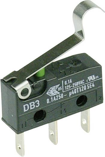 Cherry szubminiatűr mikrokapcsoló, 250V/AC, 1 váltó, csúszósarus, DB3C-B1SC