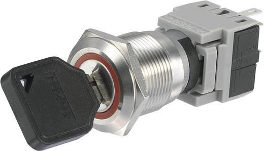 Nemesacél kulcsos kapcsoló 250 V/AC 5 A beépítési Ø 19 mm Conrad LAS1-BGQ LAS1-BGQ-11Y/21