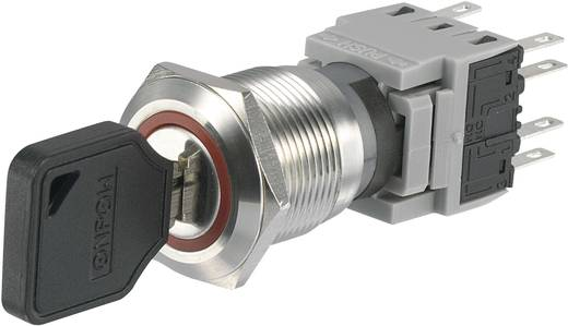 Nemesacél kulcsos kapcsoló 250 V/AC 5 A beépítési Ø 19 mm Conrad LAS1-BGQ LAS1-BGQ-22Y/31