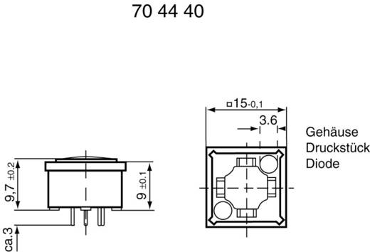 RAFI Nyomógomb RF 15 megvilágítva 3.14100.033 billenő érintkező 0,02 - 42 V/AC/DC 0.01 - 100 mA