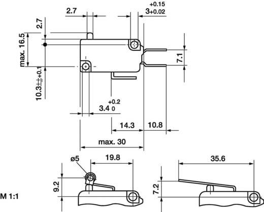 Mikrokapcsoló 250V16A váltó/ütközős