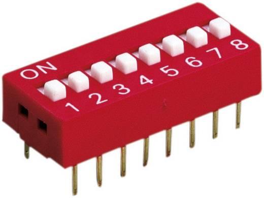 Diptronics DIL kapcsolók, többszörös DS-08V 8 pólusú (kapcsolás nélkül) 100 mA/50 V, (kapcsolással) 25 mA/24 V