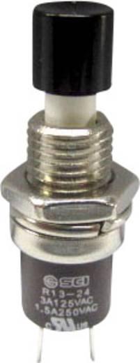 SCI miniatűr nyomógomb, 1,5 A 250 V/AC, 1 x be, fekete, R13-24B1-05