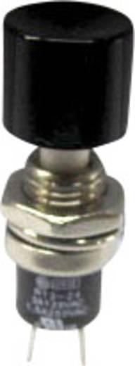 SCI miniatűr nyomógomb, 1,5 A 250 V/AC, 1 x ki, fekete, R13-24A2-05