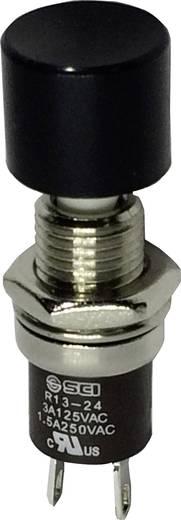 SCI miniatűr nyomógomb, 1,5 A 250 V/AC, 1 x be, fekete, R13-24B2-05