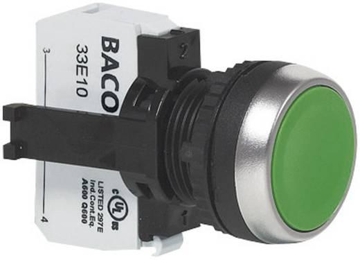 Nyomógomb, krómozott elülső gyűrű, zöld BACO L21AA02A 1 db