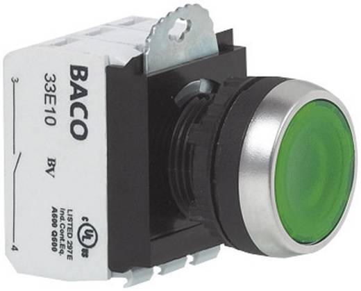 Nyomógomb, krómozott elülső gyűrű, zöld BACO L21AH20L 1 db
