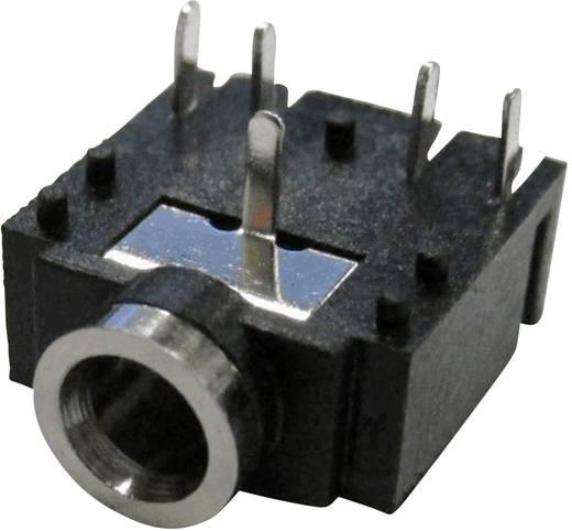 Jack csatlakozó, 3,5 mm alj, beépíthető, vízszintes pólusszám: 5 Sztereo fekete Cliff FC68133 1 db