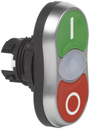 Kettős nyomókapcsoló, krómozott elülső gyűrű zöld, piros BACO L61QH21 1 db