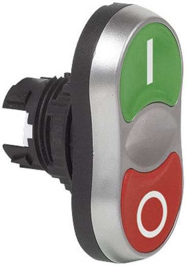 Kettős nyomókapcsoló, krómozott elülső gyűrű zöld, piros BACO L61QA21 1 db