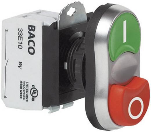 Kettős nyomókapcsoló, krómozott elülső gyűrű zöld, piros BACO L61QB21A 1 db