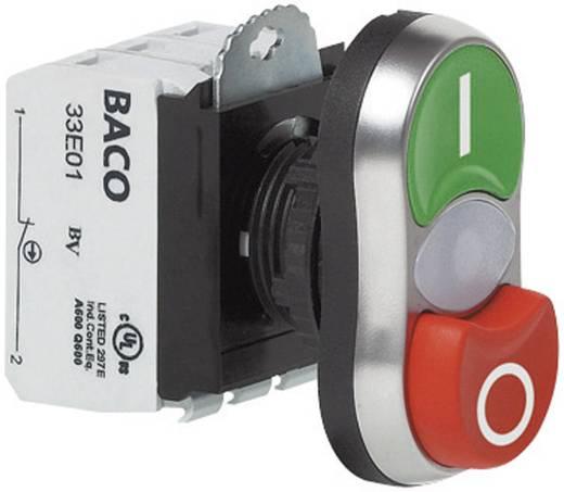 Kettős nyomókapcsoló, krómozott elülső gyűrű zöld, piros BACO L61QK21L 1 db