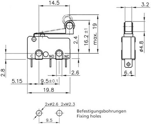 Mikrokapcsoló 250 V/AC 5 A 1 x BE/(BE) Hartmann MBB1 01 A 01 C 09 A nyomó 1 db