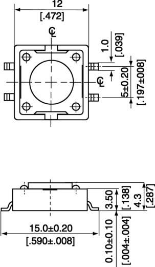 SMD nyomógomb 12x12 mm 4.3mm