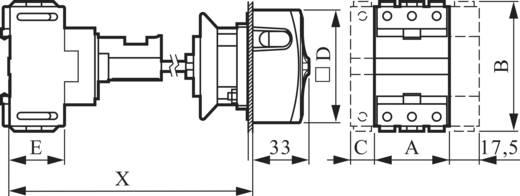 Terhelés leválasztó kapcsoló, lereteszelhető 32 A 1 x 90 ° sárga, piros BACO 0165109 1 db