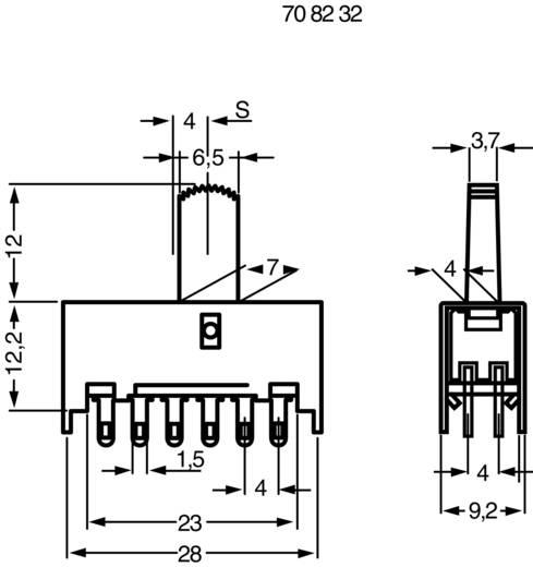 Tolókapcsoló 30 V/DC 0.1 A 4 x BE/BE