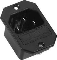 Beépíthető hálózati műszercsatlakozó dugó biztosítékkal, függőleges, 3 pól., 10 A, fekete, C14, K&B 42R322111 (42R322111) K & B
